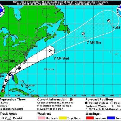 SE FORMA DEPRESIÓN TROPICAL 3: Advierten fuertes lluvias y posible tormenta en la zona de la península de Yucatán