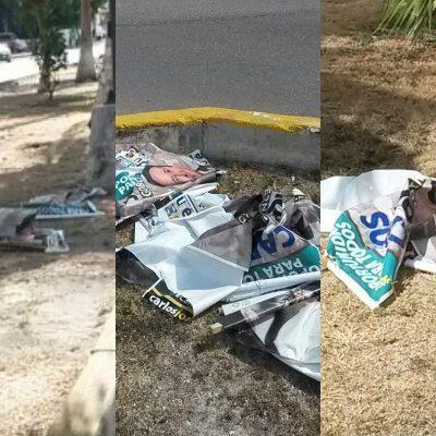 ¿MIEDO AL CAMBIO EN CANCÚN?: A tres días de la elección, destruyen de forma masiva toda la propaganda de Carlos Joaquín en el primer cuadro de la ciudad