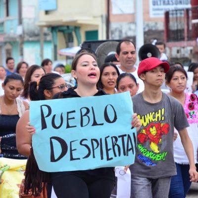 Marcha de maestros y sociedad civil en JMM en apoyo al magisterio de Oaxaca y en rechazo a la reforma educativa
