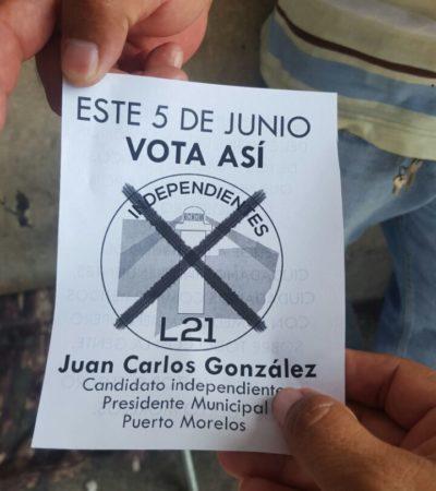 Último llamado de candidato independiente para votar por un cambio sin partidos en Puerto Morelos