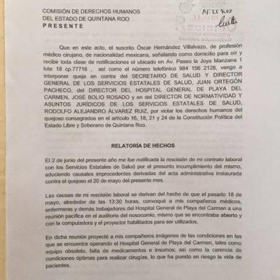 Queja formal ante Derechos Humanos por el despido de un médico que denunció carencias en el Hospital General de Playa del Carmen