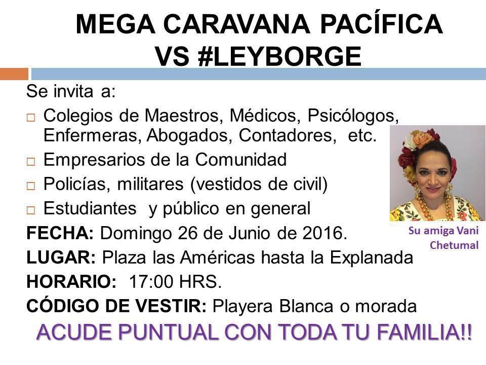 Realizarán este domingo mega caravana ciudadana en Chetumal contra los excesos de la 'Ley Borge'