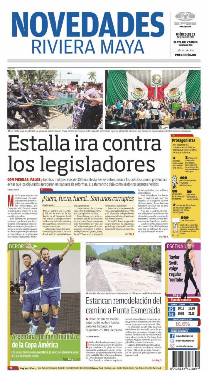LA PRENSA Y EL ZAFARRANCHO EN EL CONGRESO: Así publican periódicos impresos de QR lo ocurrido ayer en Chetumal