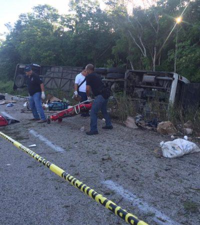 TRAGEDIA DE AUTOBÚS TURÍSTICO EN LA CARRETERA: Confirman 12 muertos y más de una docena de heridos al volcarse camión de la línea 'Tour Acosta' en la carretera Tulum-FCP; procedente de Acayucan, se dirigía a Cancún