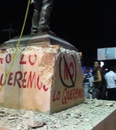 VANDALIZAN ESTATUA DE GASTÓN ALEGRE: Pintarrajean impopular monumento de empresario radiofónico en Tulum