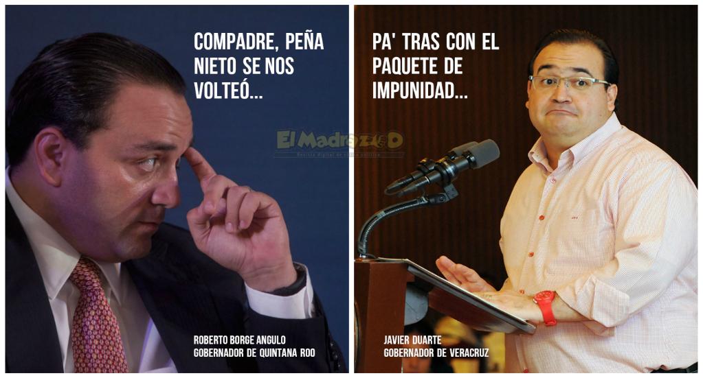 BORGE Y DUARTE, HERMANOS EN DESGRACIA   Los memes de los gobernadores de QR y Veracruz tras el freno de EPN