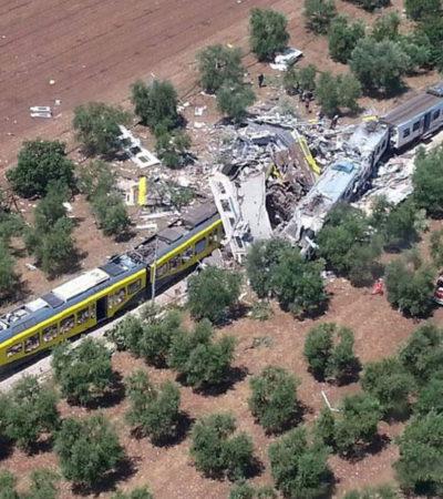 CHOQUE DE TRENES EN ITALIA: Al menos 23 muertos y 40 heridos en nuevo accidente ferroviario