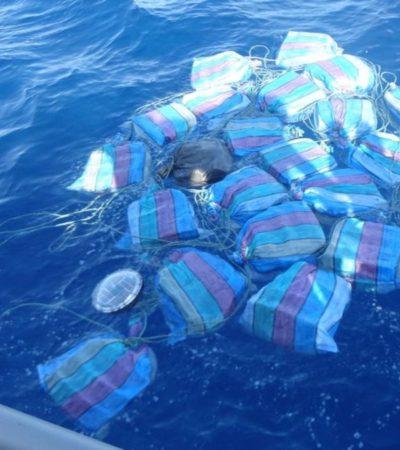 Decomisan 800 kilos de cocaína que fueron arrojados al mar frente a costas de Chiapas
