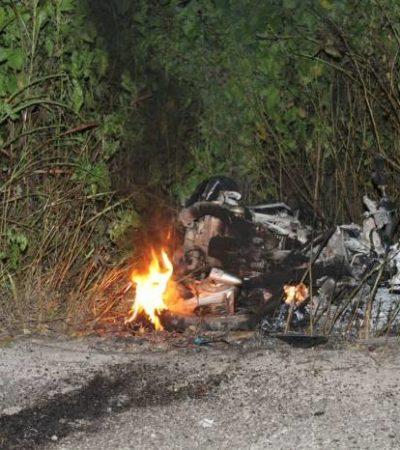 Muere hombre semi calcinado al chocar en moto contra camioneta en la Ribera del Río Hondo