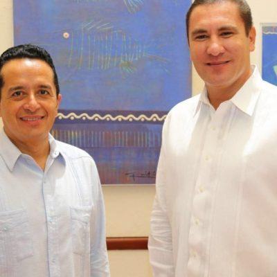 AMARRA GOBER POBLANO ACUERDOS EN QR: Se reúne Carlos Joaquín con Moreno Valle en Cancún
