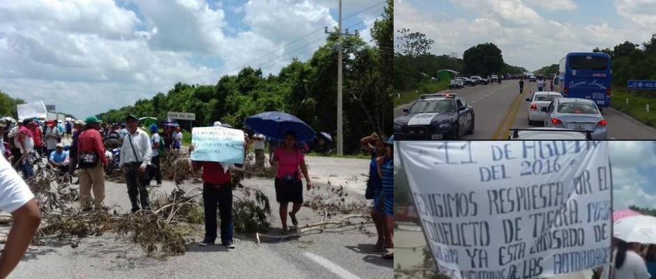 BLOQUEAN CARRETERA EN EL SUR DE QR: Conflicto por tierras desata protesta de habitantes de Maya Balam y provoca caos vehicular en la vía Bacalar-FCP