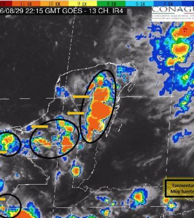 PRONÓSTICO VESPERTINO DEL CLIMA: Advierten de fuertes lluvias en la Península de Yucatán y el Sureste de México