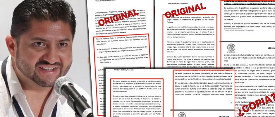 """""""TENEMOS UN TRIBUNAL PIRATA"""": Resolución de Víctor Vivas y Magistrados sobre regidores 'pluris', copiada de otra dictada por Tribunal de Zacatecas"""