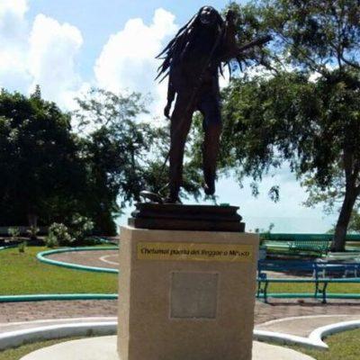 Desaparece la placa de la estatua de Bob Marley que apenas ayer fue inaugurada en Chetumal