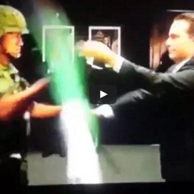 Ventilan supuesta destitución del soldado que 'arrebató' bandera al Gobernador Manuel Velasco y lo hizo quedar en ridículo
