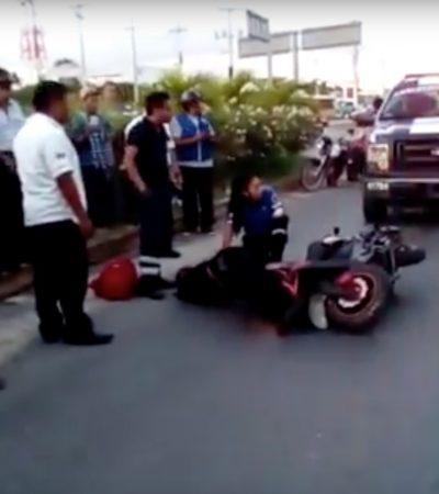 Muere motociclista al derrapar en moto en Playa del Carmen