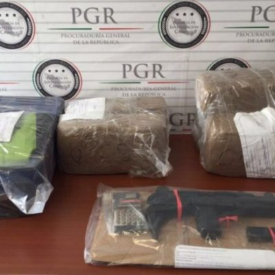 Decomisan 26 kilos de marihuana y una ametralladora en colonia Tamulté de Villahermosa