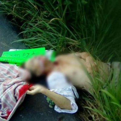 Hallan a ejecutado con narcomensaje en la carretera Cárdenas-Coatzacoalcos