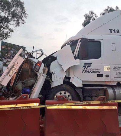 CARRETERAZO EN HUEHUETOCA: 6 muertos por choque de tráiler contra taxi en la autopista México-Querétaro