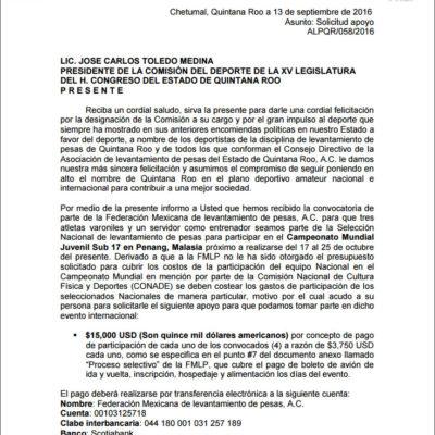 Niega Cojudeq apoyos a pesistas quintanarroenses