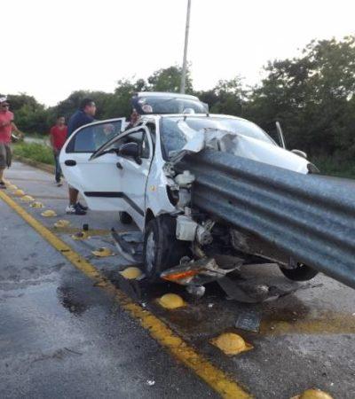 ESPANTOSA MUERTE EN LA CARRETERA: Fallece mujer al estrellarse auto contra barrera de contención en la vía Valladolid-Temozón
