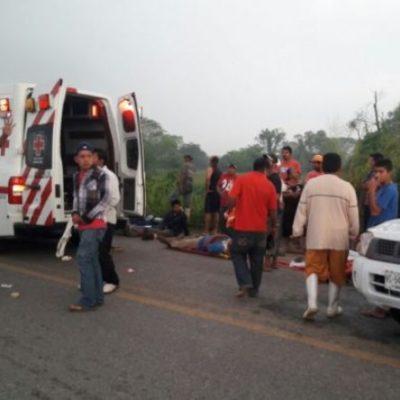 Volcadura en Tabasco deja un muerto y 9 heridos