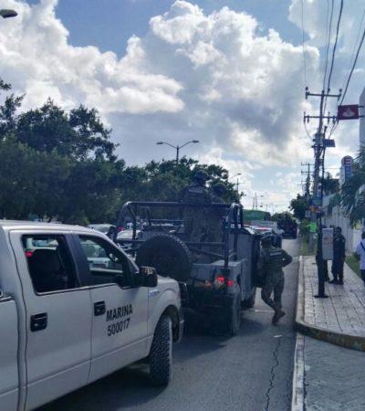 Fuerte movilización policiaca por supuesto intento de robo afuera de un banco en la Avenida La Luna de Cancún