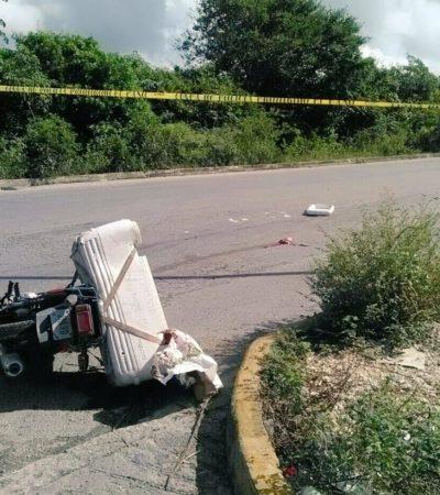 Muere repartidor de tortillas embestido por una unidad del transporte público en el Arco Vial Norte de Cancún