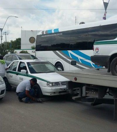 Por irregularidades, detiene Sintra a 18 unidades del sindicato de taxistas de Cancún y aplican multas de 400 salarios mínimos