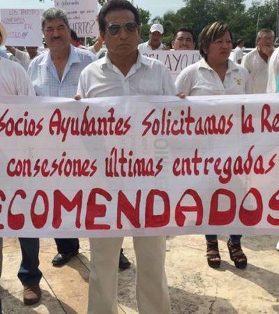 MARCHAN TAXISTAS EN CHETUMAL: Demandan 100 seguidores de 'El Catrín' elección de nueva directiva en el Suchaa