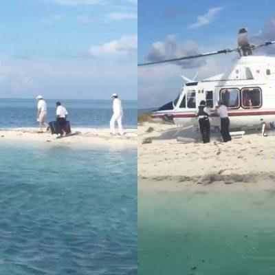 Aterriza helicóptero en Arrecife Alacranes y causa destrozos; señalan a Senador Gamboa Patrón entre los tripulantes