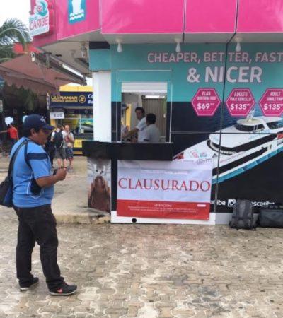 Pretende comuna de Solidaridad recuperar zona peatonal ocupada por taquilla de Barcos Caribe
