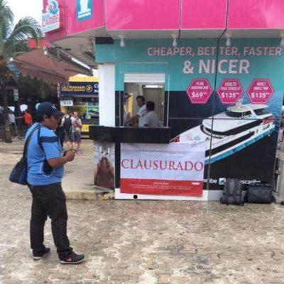 ANDA PROFEPA TRAS LOS NEGOCIOS DE BORGE: Impone clausura a módulo de venta de boletos de la naviera 'Barcos Caribe' en Playa