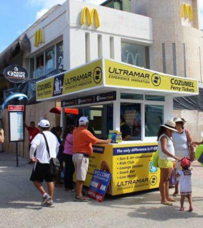 Tras ganar juicio, instalan taquillas de Ultramar en plena vía pública en la zona turística de Playa del Carmen