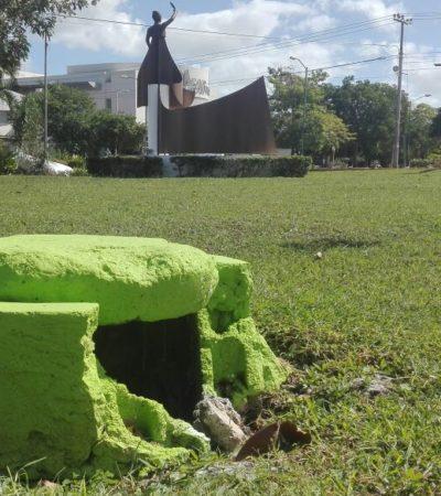 """""""SE ME HACE UNA RIDICULEZ"""": Critican PAN y PRD a la comuna por andar pintando de verde áreas de equipamiento en Cancún"""