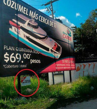 Clausuran más de 200 anuncios espectaculares irregulares en Playa del Carmen