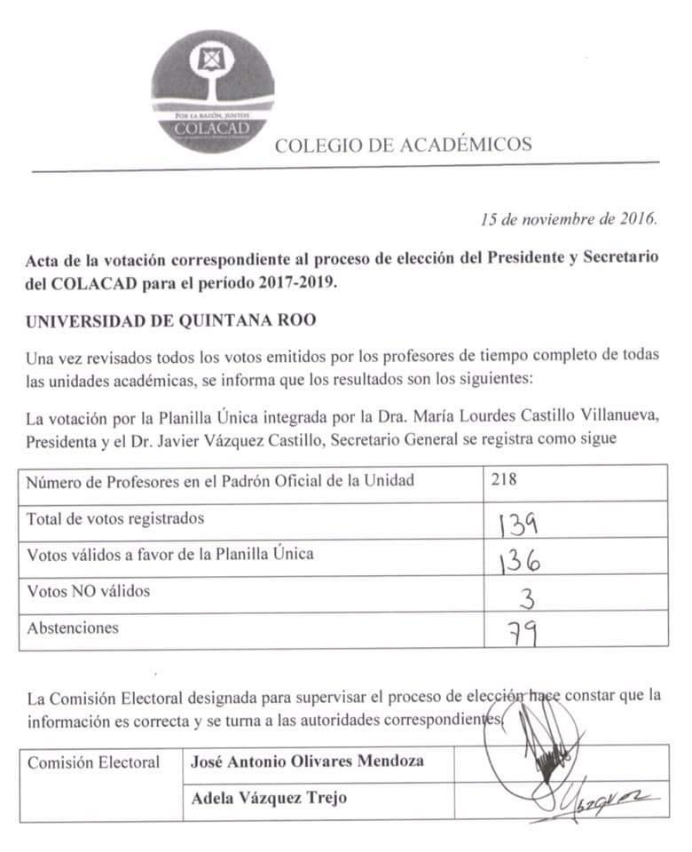 Eligen nueva directiva del Colegio de Académicos de la Uqroo y urgen por más autonomía a la Universidad