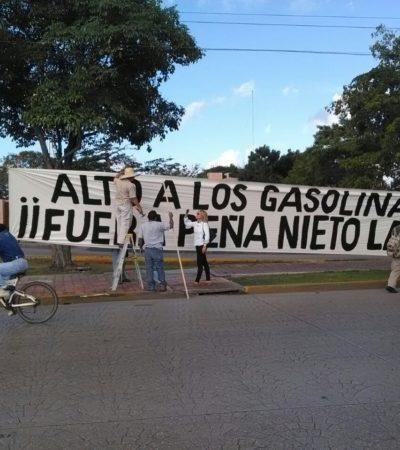 Solitaria primera protesta en Cancún contra los gasolinazos de Peña Nieto