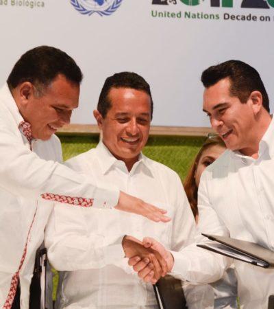 REÚNE LA COP 13 A GOBERNADORES DE LA PENÍNSULA: Mandatarios de Campeche, Yucatán y QR pactan en Cancún agenda común de desarrollo y sustentabilidad