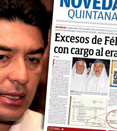 SIGUEN LAS PERIPECIAS DEL 'JEQUE' COZUMELEÑO: Publica diario nuevos detalles de los excesos del ex Gobernador Félix González Canto en un viaje a Dubái