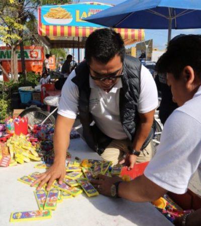 Decomisan 20 kilos de mercancía en operativo contra la venta de pirotecnia en Cancún