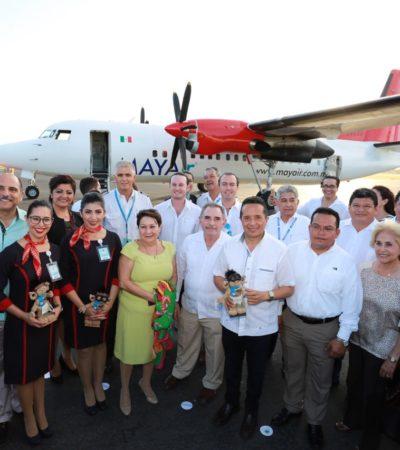 TRES DÍAS A LA SEMANA: Inaugura Carlos Joaquín vuelo Cancún-Chetumal de la aerolínea Mayair