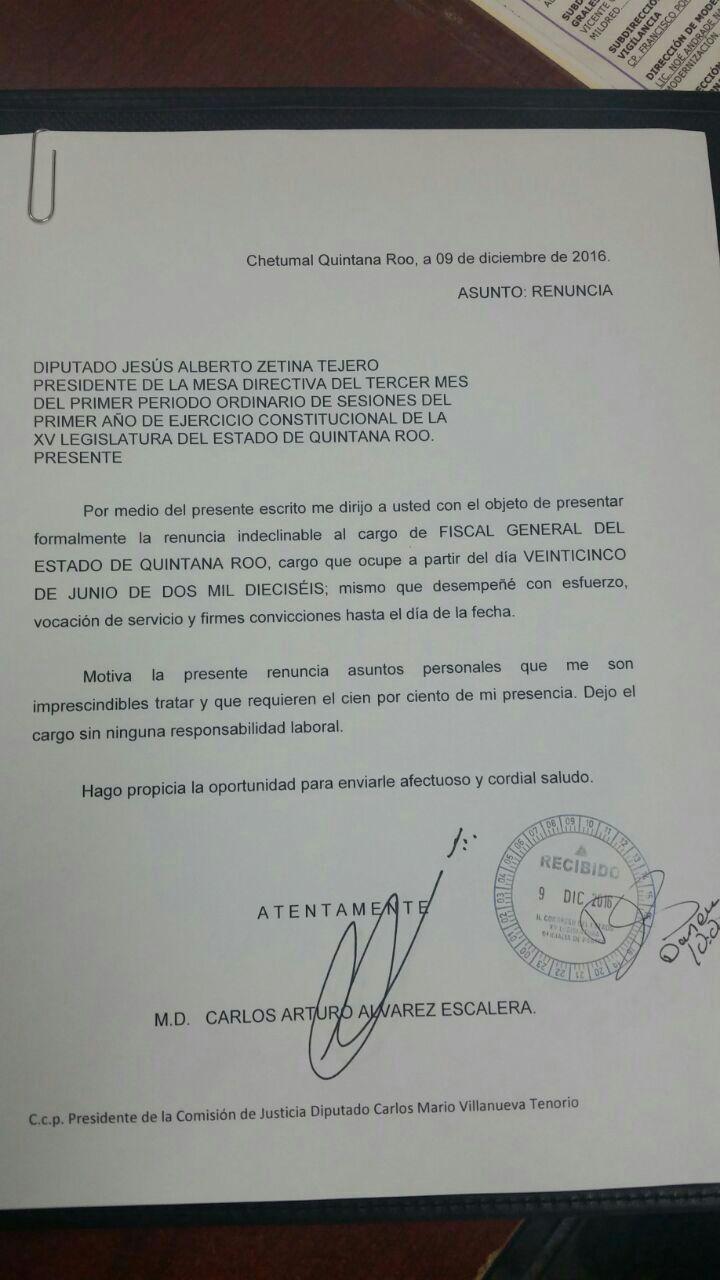 """YA ES OFICIAL   RENUNCIA EL FISCAL DE BORGE: Carlos Arturo Álvarez anuncia al Congreso su salida """"por motivos personales"""""""