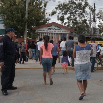 Implementan operativo especial de vigilancia y vialidad en escuelas de Puerto Morelos