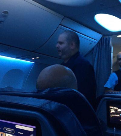 Por pasajero ebrio e impertinente, aterriza de emergencia en Cancún vuelo procedente de Miami y con destino a la CDMX