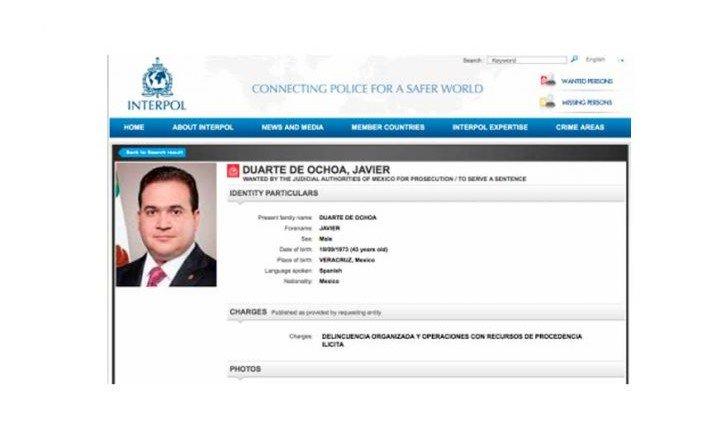 'FICHA ROJA' DE LA INTERPOL CONTRA DUARTE: Lanzan alerta internacional para localizar al ex Gobernador de Veracruz