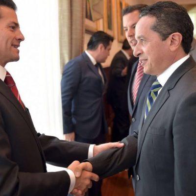 """Después de reunión con EPN, respalda Carlos Joaquín 'acuerdo de unidad nacional' para alcanzar una negociación """"con respeto"""" con EU"""