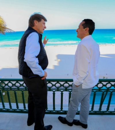 ACUERDAN FORTALECER SEGURIDAD Y PROMOCIÓN TURÍSTICA: Se reúnen Gobernador y Secretario de Turismo en Cancún