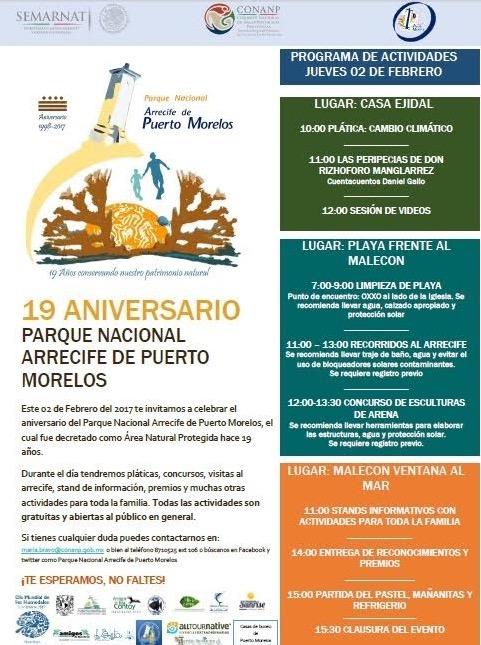 Alistan festejos por aniversario del Parque Nacional Arrecife de Puerto Morelos