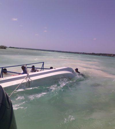 Se hunde lancha en la laguna de Bacalar por mal tiempo e impericia de sus tripulantes